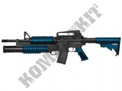 M813 M4 Electric Airsoft Rifle BB Machine Gun + M203 Tri Shot Launcher Black & 2 Tone